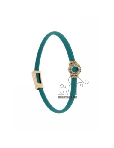 RUBBER BRACELET &39TURQUOISE AND APPLICATION ROUND ROSE GOLD PLATED AG TIT 925 ‰, ZIRCONS HYDROTHERMAL VARIOUS COLORS AND STON
