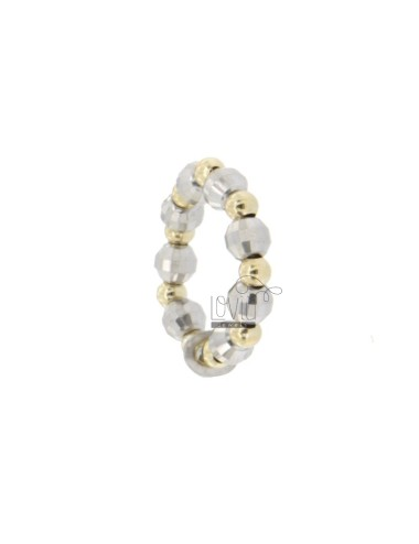 SNAP RING WITH DIAMOND BALL MM 4 rhodium ALTERNATE SMOOTH BALL 2.5 MM GOLD PLATED ADJUSTABLE SIZE IN AG TIT 925