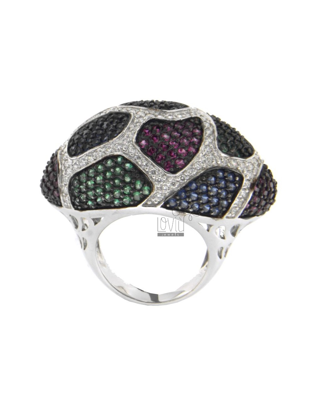 SPOTTED ZIRCONIA RING WITH RED, GREEN, BLUE AND WHITE WITH BASE AG TIT 925 ‰ SIZE 18