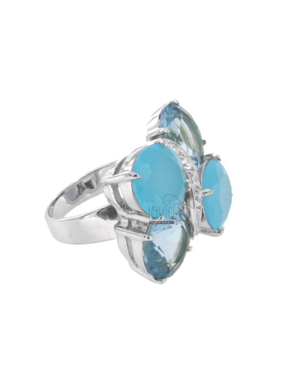 RING WITH BUTTERFLY WINGS AND HEAVENLY BODY IN WHITE ZIRCONIA WITH FRAME IN RHODIUM AG TIT 925 SIZE 16