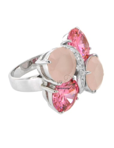 BUTTERFLY WINGS RING WITH PINK AND BODY IN WHITE ZIRCONIA WITH FRAME IN RHODIUM AG TIT 925 SIZE 18