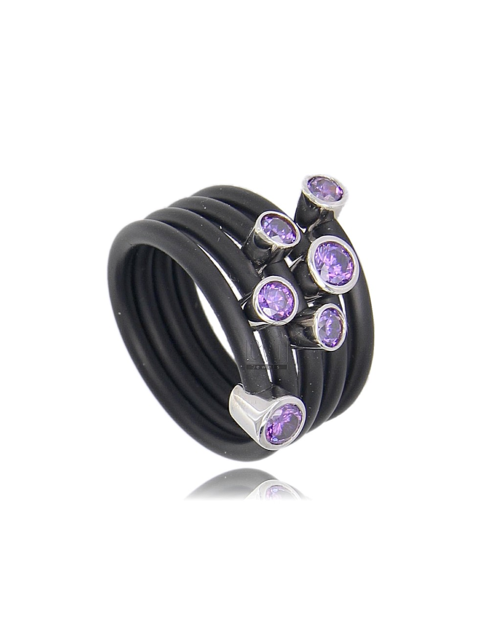 RING RUBBER &39A TUBE IN 5 ROUNDS WITH ouches AG TIT 925 ‰ ZIRCONIA WITH PURPLE SIZE 14