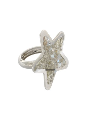 RING A STAR WITH ZIRCONIA WHITE IN RHODIUM AG TIT 925 SIZE 13