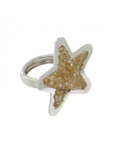 RING A STAR WITH ZIRCONIA COLOR CHAMPAGNE IN RHODIUM AG TIT 925 SIZE 14