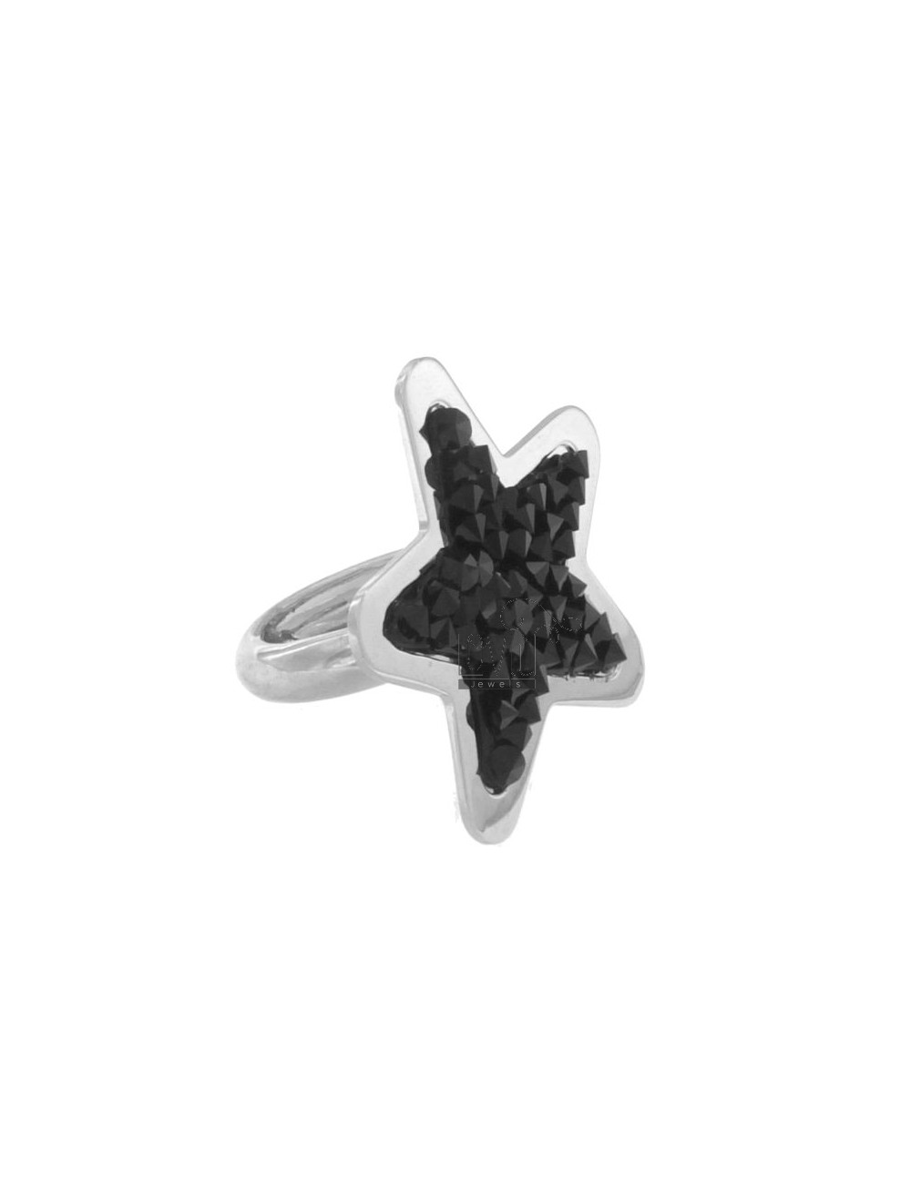 RING A STAR WITH BLACKS IN ZIRCONIA AG RHODIUM TIT 925 SIZE 13
