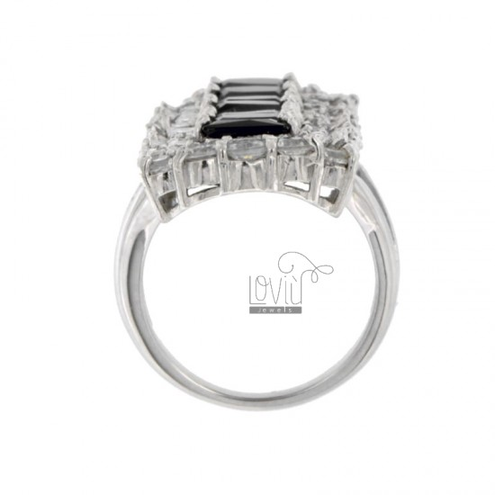 VERTICAL RECTANGULAR RING WITH CUBIC ZIRCONIA WHITE AND BLACKS IN RHODIUM AG TIT 925 SIZE 14
