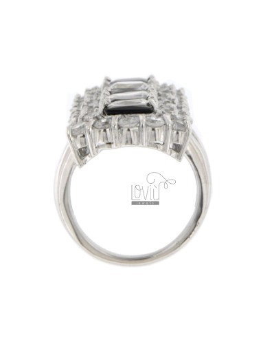 VERTICAL RECTANGULAR RING WITH CUBIC ZIRCONIA WHITE AND BLACKS IN ALTERNATE AG RHODIUM TIT 925 ‰ SIZE 12