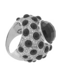 CUPOLONE RING WITH BLACK POLKA DOTS AND ZIRCONIA STONES IN RHODIUM AG TIT 925 ‰ SIZE 18