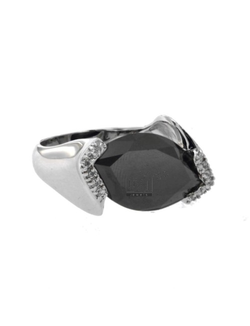 SHUTTLE RING IN VERTICAL AND ZIRCONIA IN BLACK STONE HYDROTHERMAL AG RHODIUM TIT 925 ‰ SIZE 16