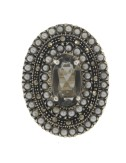 OVAL RING WITH MARCASITE, MICRO BEADS AND SMOKE CITRINE &39IN AG BRUNITO TIT 925 ‰ SIZE 15