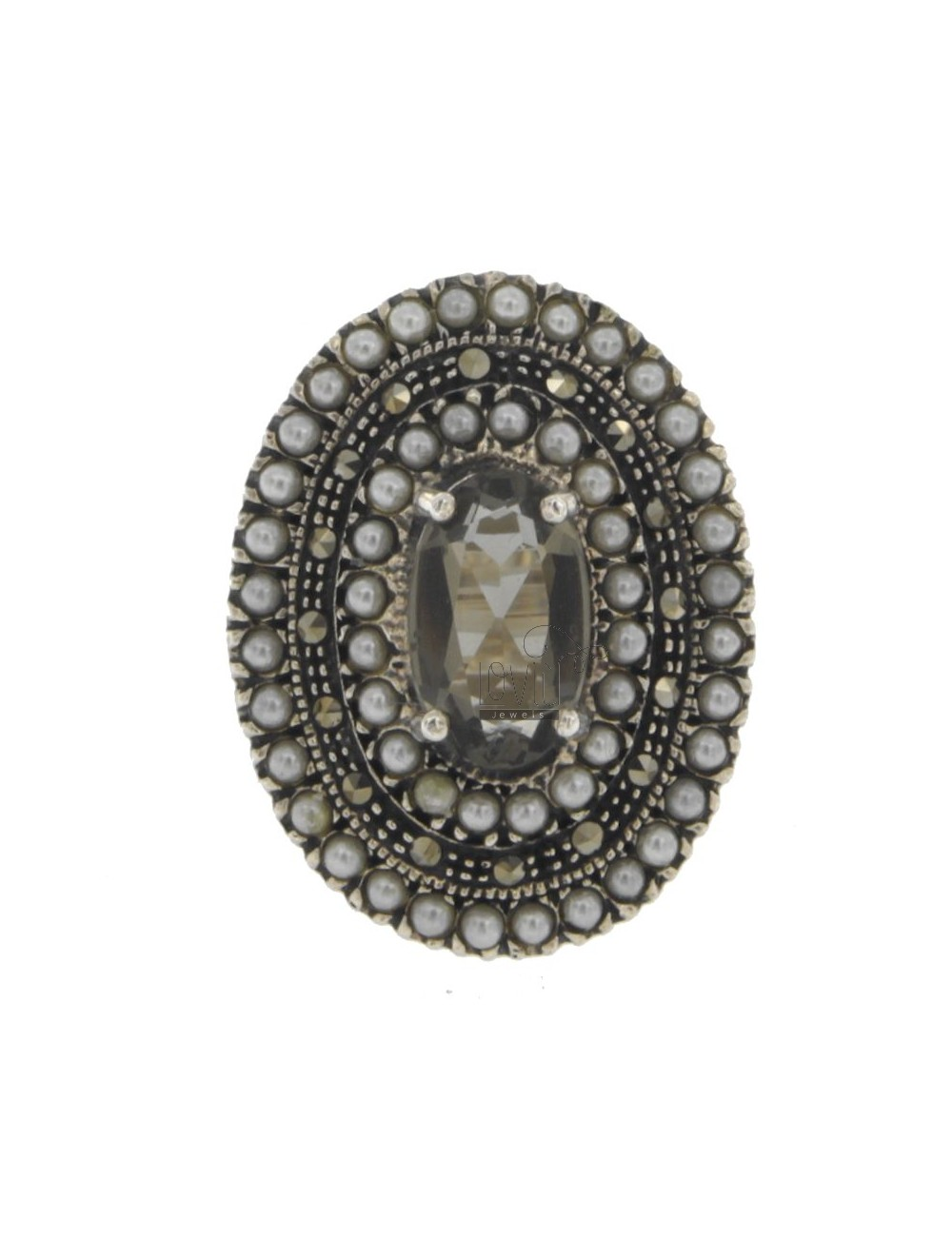 OVAL RING WITH MARCASITE, MICRO BEADS AND SMOKE CITRINE &39IN AG BRUNITO TIT 925 ‰ SIZE 17