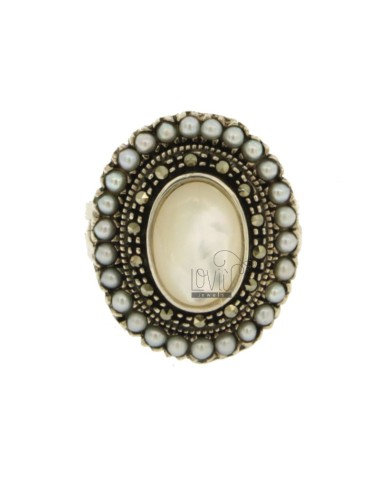 OVAL RING WITH MARCASITE, MICRO PEARLS AND PEARL IN AG BRUNITO TIT 925 SIZE 14