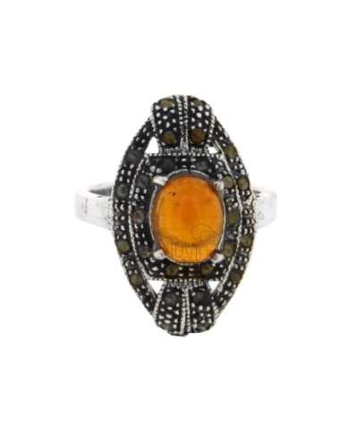 OVAL RING WITH AMBER IN MARCASITE AG BRUNITO TIT 925 SIZE 16