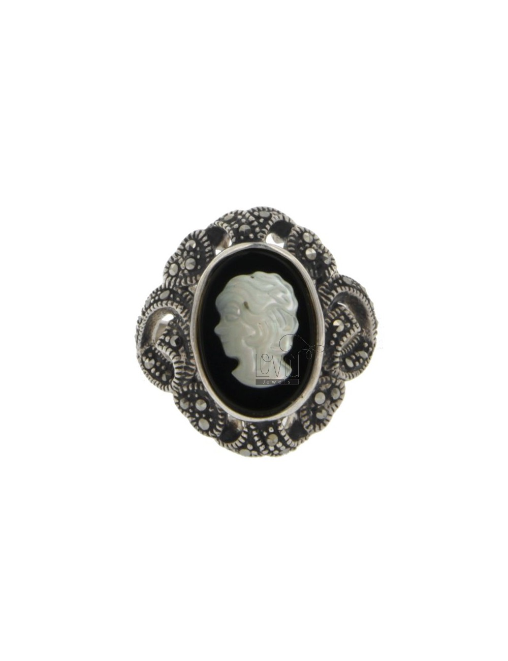 OVAL RING WITH CAMEO IN AND MARCASITE AG BRUNITO TIT 925 ‰ SIZE 16