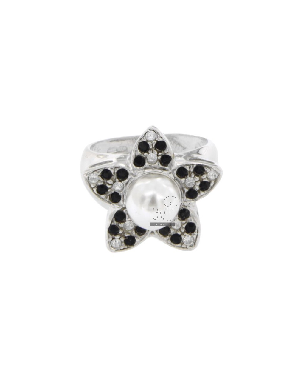 RING IN THE FORM OF A FLOWER WITH RHINESTONE AND PEARL WHITE AND BLACKS IN 8 MM AG RHODIUM TIT 925 SIZE 12