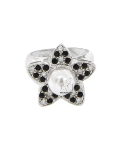 RING IN THE FORM OF A FLOWER WITH RHINESTONE AND PEARL WHITE AND BLACKS IN 8 MM AG RHODIUM TIT 925 SIZE 17
