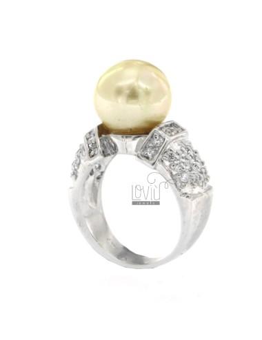 Anello perla avorio mm 12 e...