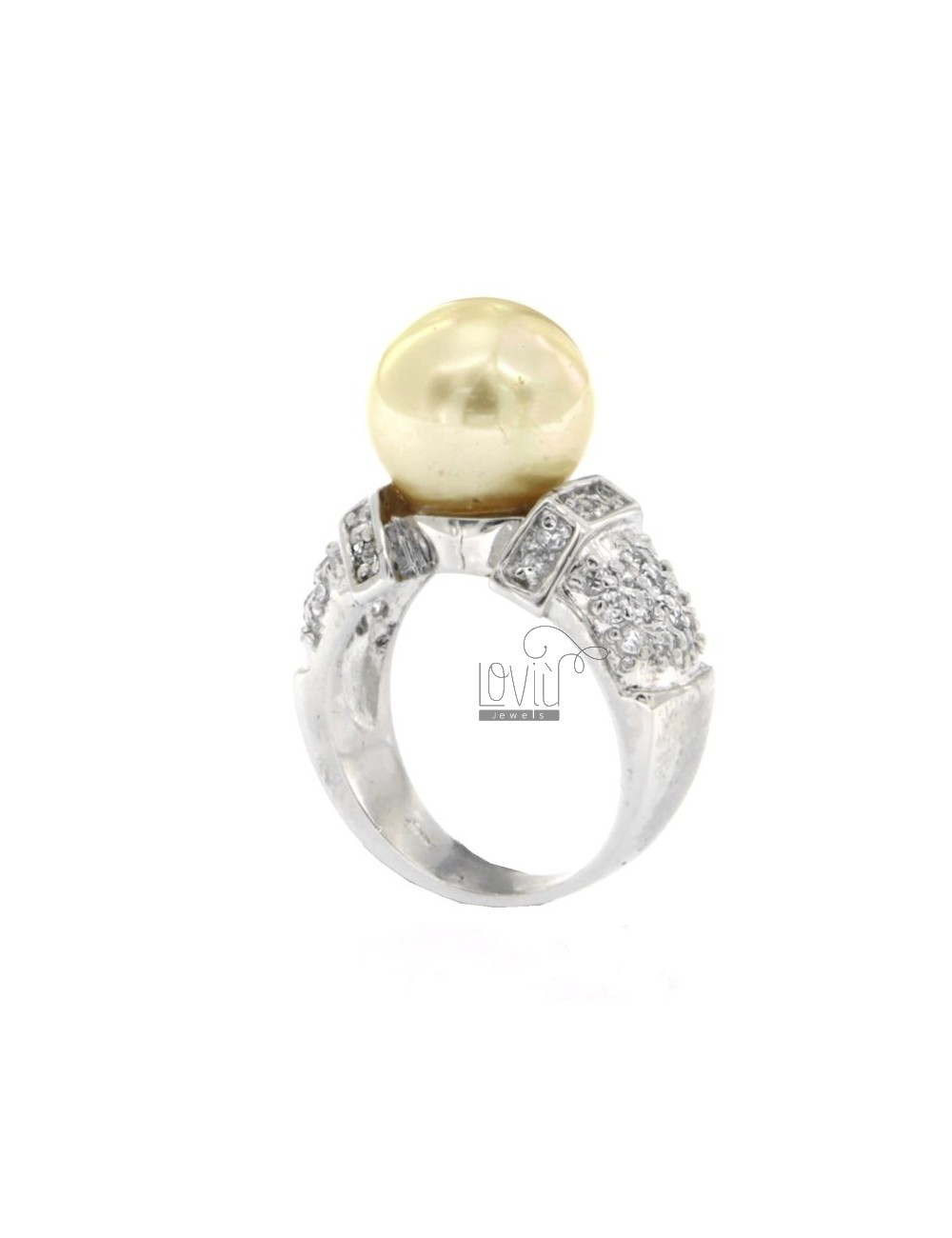 IVORY PEARL RING 12 MM AND ZIRCONIA IN RHODIUM AG TIT 925 SIZE 14