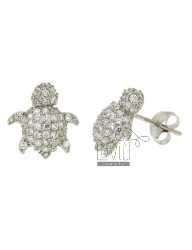 TURTLE EARRINGS WITH PAVE &39OF ZIRCONIA IN RHODIUM AG TIT 925 ‰