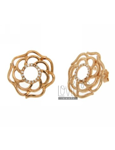 Doodle ZIRCONIA EARRINGS WITH FLOWER IN PINK GOLD PLATED AG TIT 925 ‰