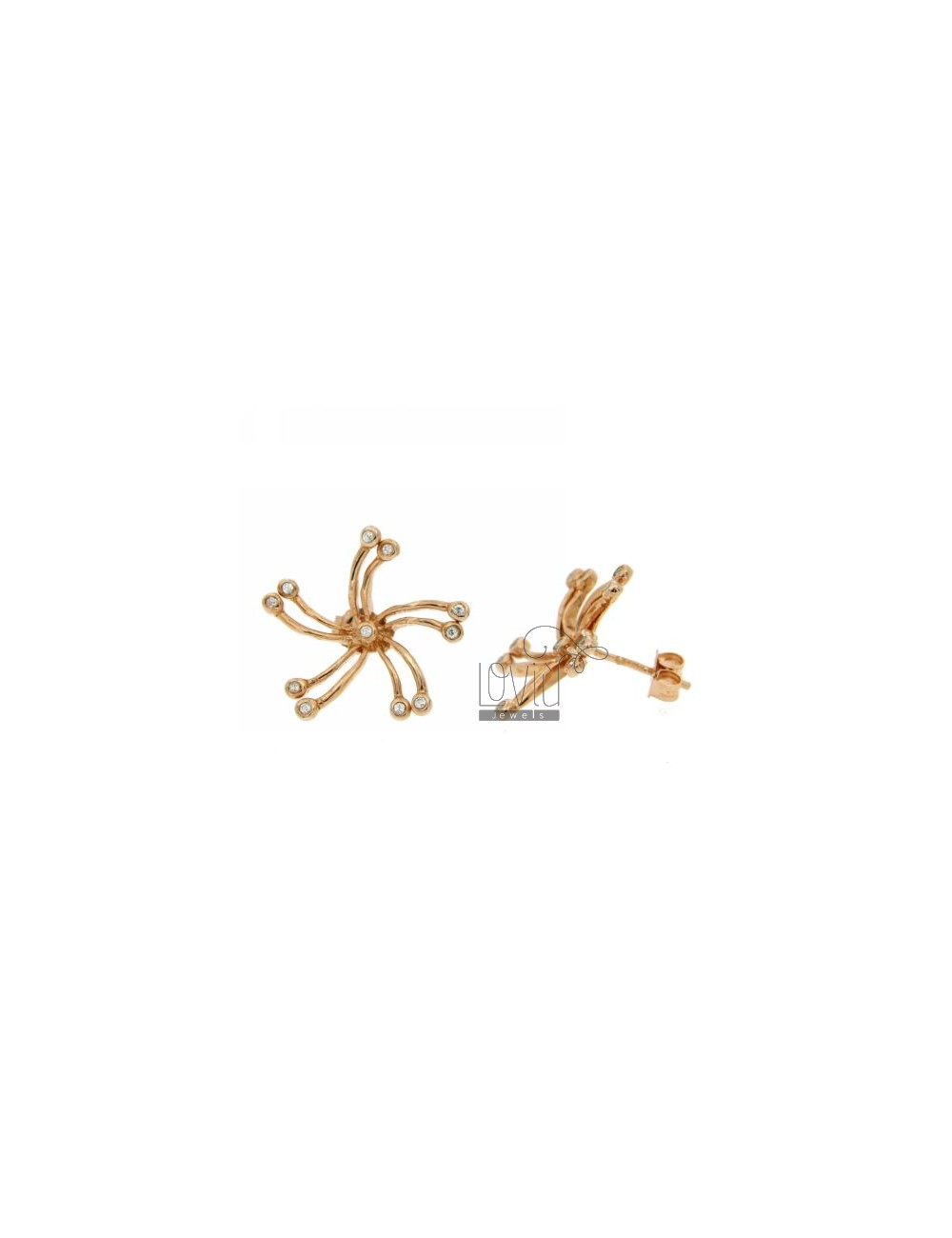 ZIRCONIA EARRINGS WITH A BOW IN AG PLATED PINK TIT 925