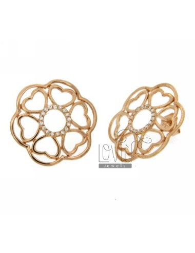EARRINGS WITH FLOWER PETALS IN HEARTS WITH ZIRCONIA IN ROSE GOLD PLATED AG TIT 925 ‰
