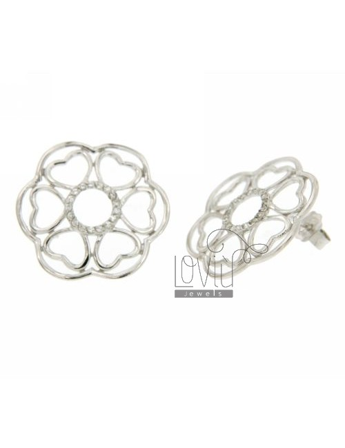 EARRINGS WITH FLOWER PETALS IN HEARTS WITH ZIRCONIA IN RHODIUM AG TIT 925 ‰