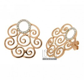 Doodle ZIRCONIA EARRINGS WITH CURLS IN ROSE GOLD PLATED AG TIT 925 ‰