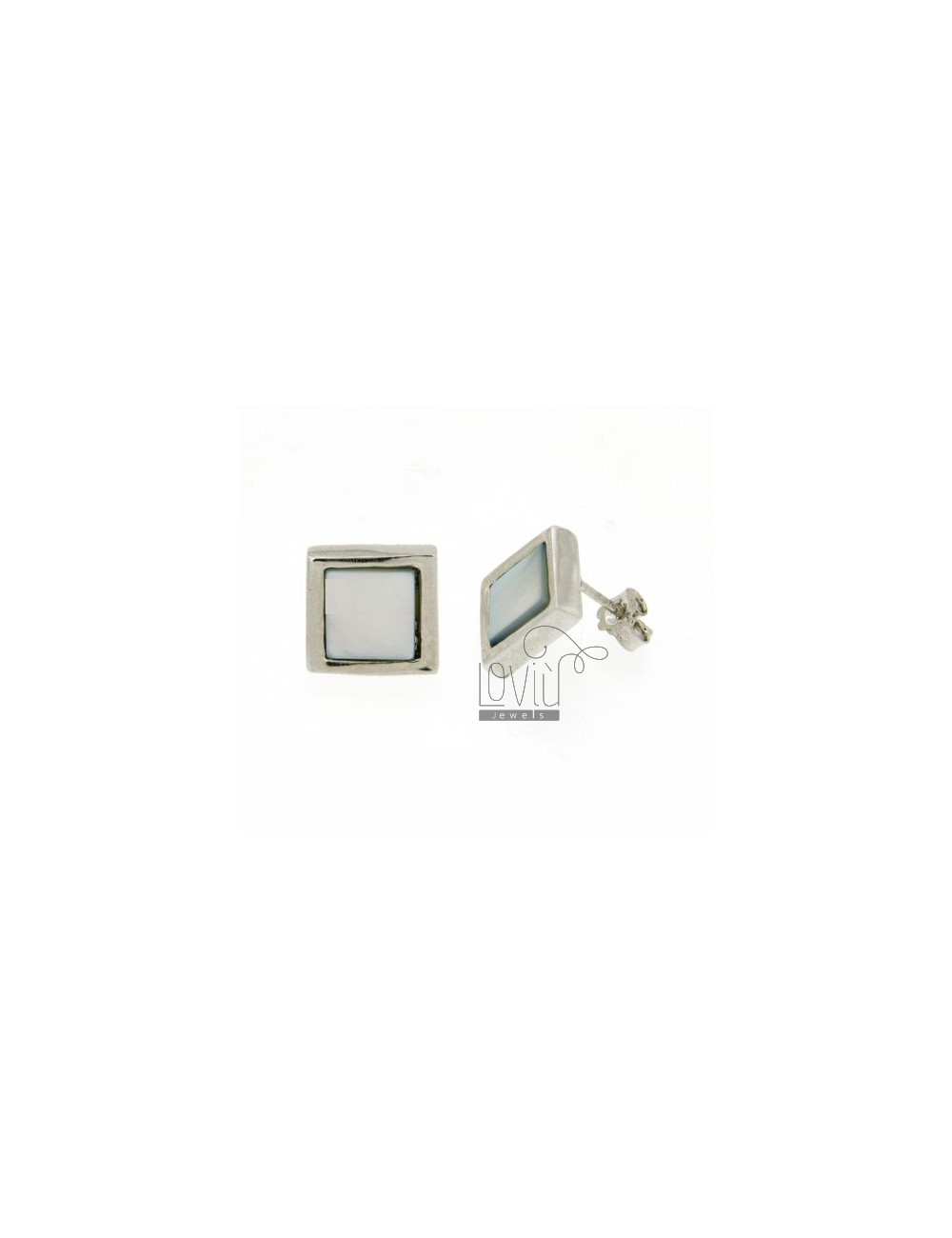 LOBO SQUARE EARRINGS WITH PEARL GREY RHODIUM AG TIT 925 ‰