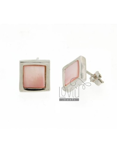LOBO EARRINGS WITH PEARL PINK SQUARES IN RHODIUM AG TIT 925 ‰