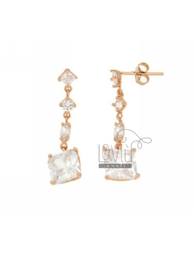 ZIRCONIA EARRINGS WITH VARIOUS MEASURES AG PLATED PINK TIT 925 ‰