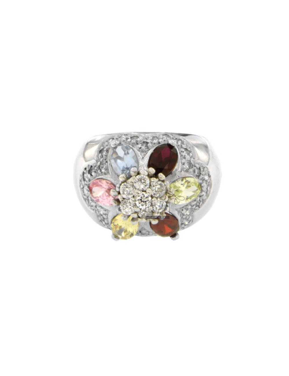 FASCIONE ZIRCONIA RING WITH FLOWER IN MULTICOLOR AG RHODIUM TIT 925 SIZE 14