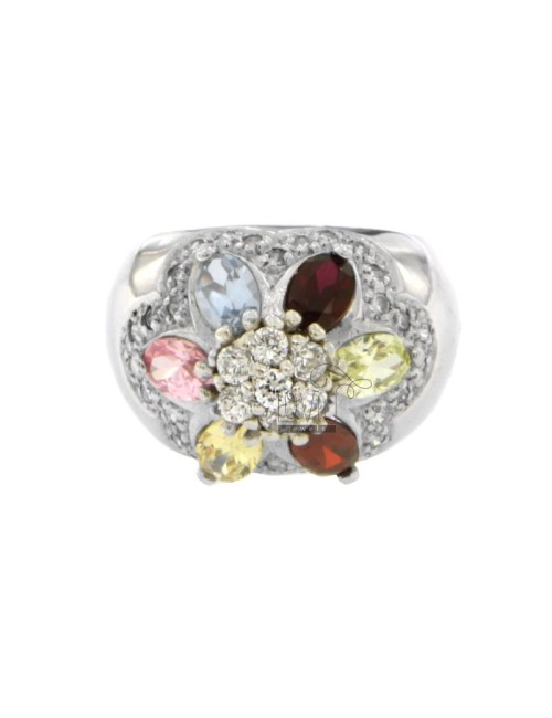 FASCIONE ZIRCONIA RING WITH FLOWER IN MULTICOLOR AG RHODIUM TIT 925 SIZE 17