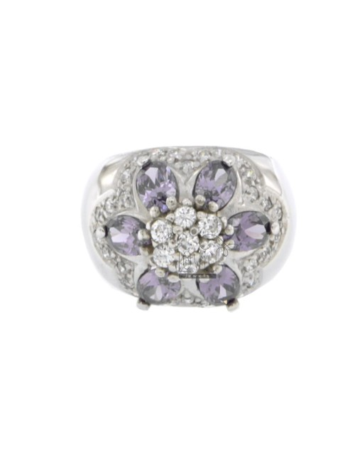 FASCIONE ZIRCONIA RING WITH FLOWER IN PURPLE AND WHITE RHODIUM AG TIT 925 SIZE 12