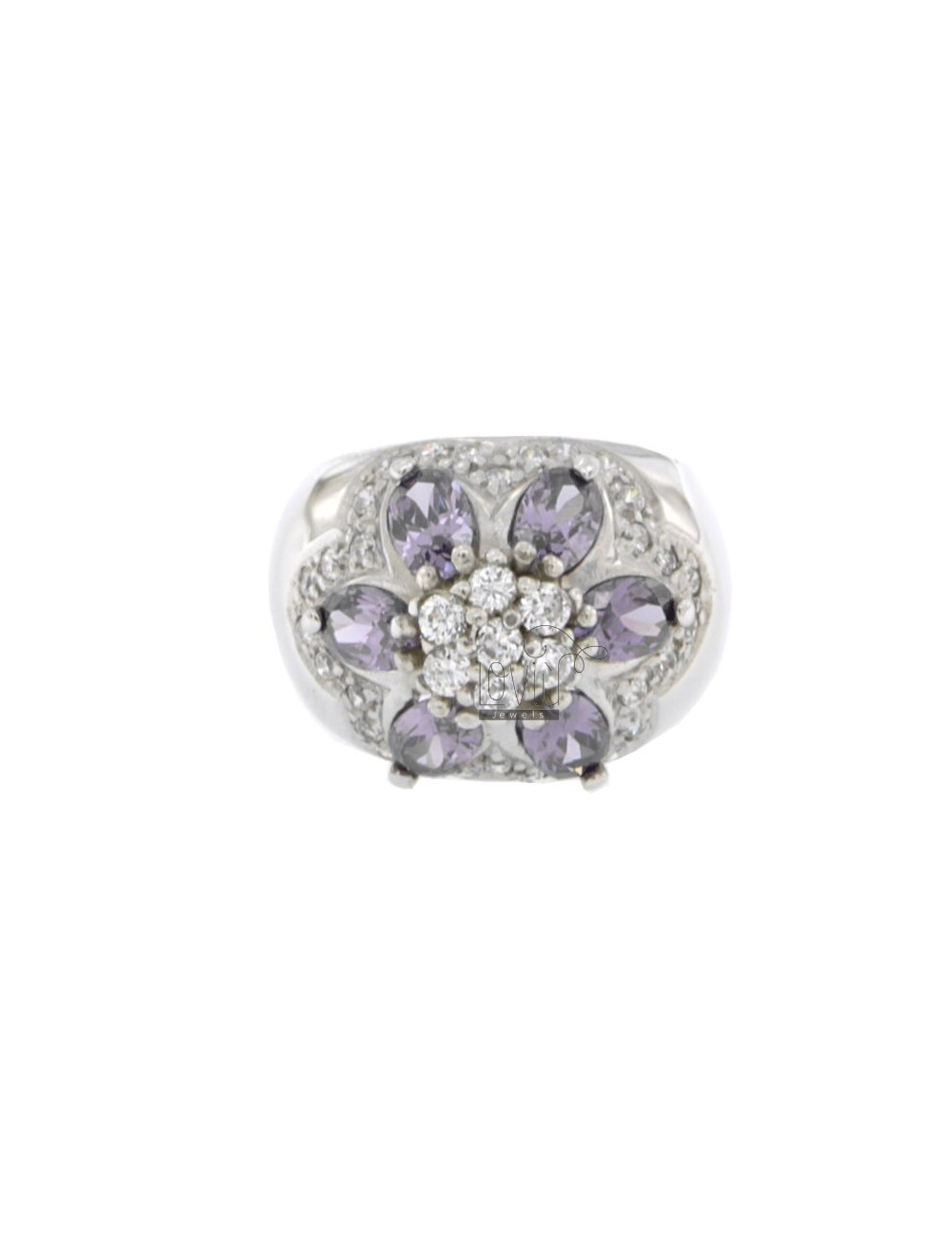 FASCIONE ZIRCONIA RING WITH FLOWER IN PURPLE AND WHITE RHODIUM AG TIT 925 SIZE 14