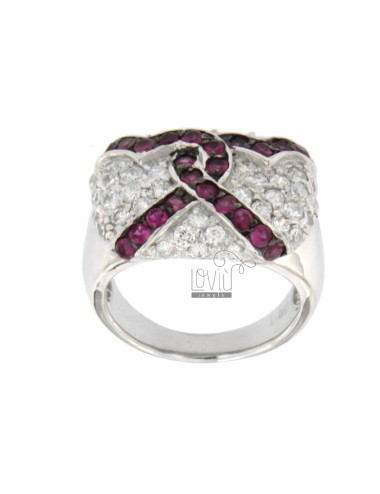 RECTANGULAR RING WITH CUBIC ZIRCONIA WHITE HEARTS WITH STRAW AND BLACKS IN TIT AG 925 SIZE 16