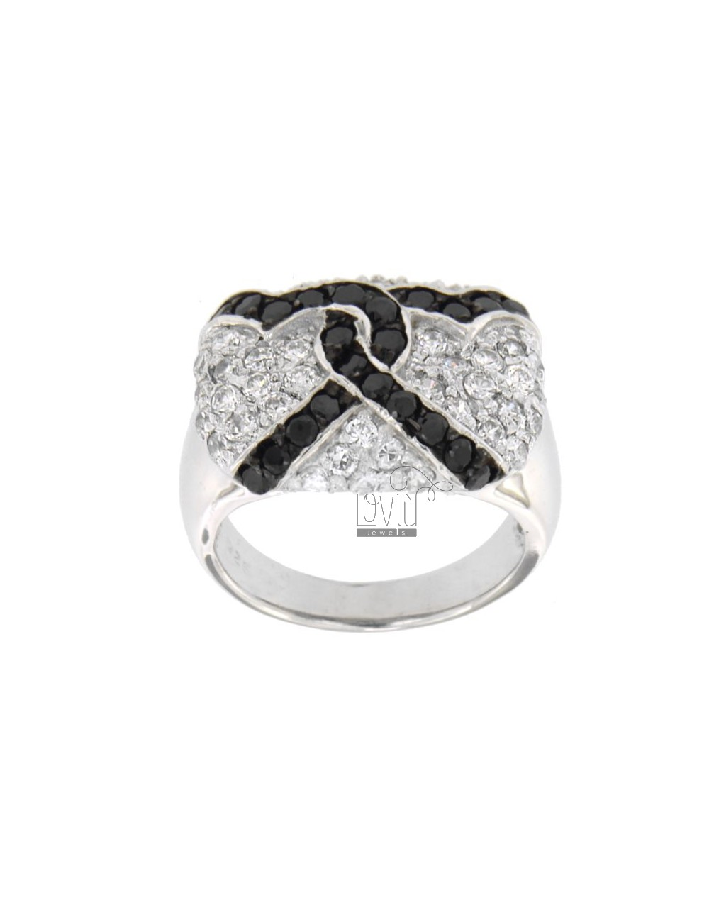 RECTANGULAR RING WITH CUBIC ZIRCONIA WHITE HEARTS WITH STRAW AND BLACKS IN TIT AG 925 SIZE 18