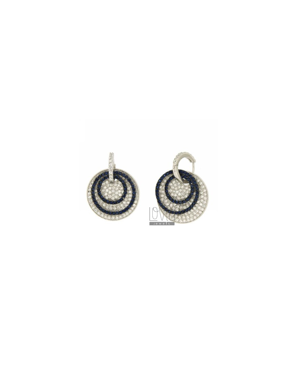 HOOP EARRINGS WITH ROUND PENDANT WITH PAVE &39OF ZIRCONIA WHITE AND BLUE 26 MM IN AG TIT RODIATO 925 ‰