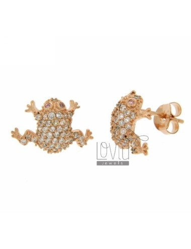 LOBO WITH A FROG EARRINGS PAVE &39OF ZIRCONIA WHITE ROSE GOLD PLATED IN AG TIT 925