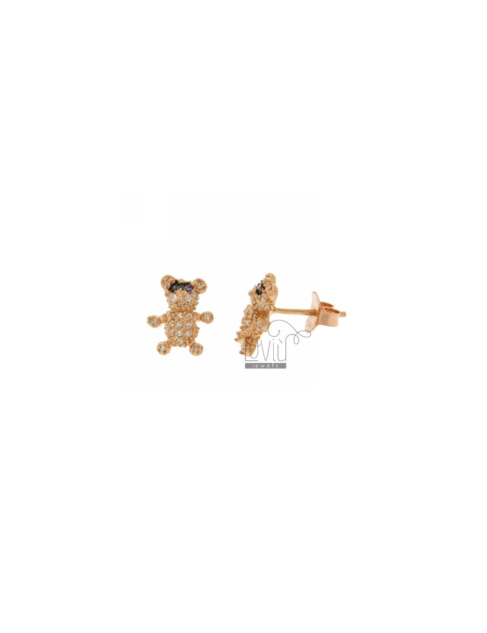 LOBO WITH A BEAR EARRINGS PAVE &39OF ZIRCONIA IN ROSE GOLD PLATED AG TIT 925
