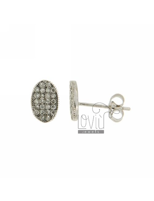 LOBO EARRINGS OVAL WITH A MICRO PAVE &39OF ZIRCONIA IN RHODIUM AG TIT 925