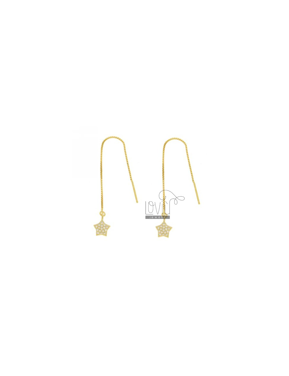 UP AND DOWN WITH EARRINGS PAVE STAR &39OF ZIRCONIA IN GOLD PLATED AG TIT 925 ‰