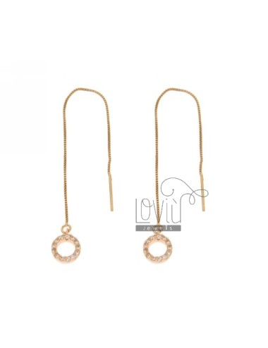 UP AND DOWN ROUND PIERCED EARRINGS WITH PAVE &39OF ZIRCONIA IN ROSE GOLD PLATED AG TIT 925 ‰