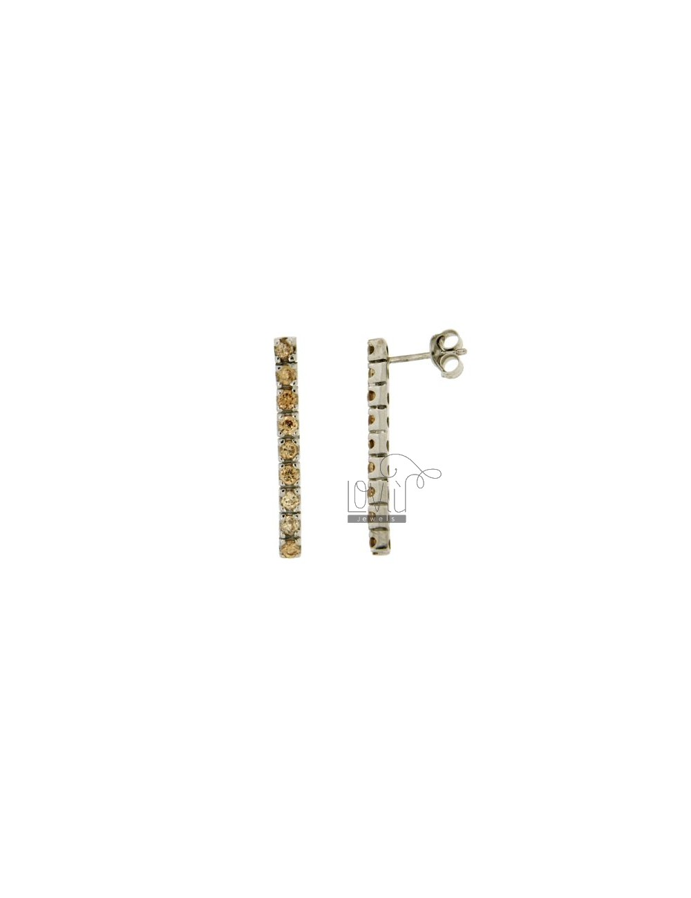 MATCH 9 ZIRCONIA EARRINGS WITH CHAMPAGNE SILVER 2.5 MM TIT 925 ‰