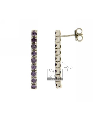 MATCH WITH ZIRCONIA EARRINGS 9 MM 2.5 PURPLE SILVER TITLE 925 ‰