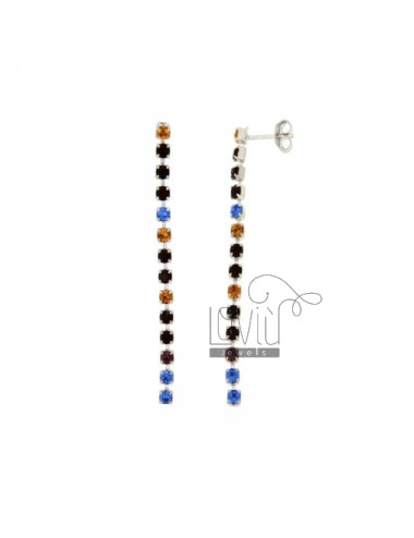 EARRINGS TENNIS CHAIN &8203&8203OF ABOUT 13 OF RHINESTONES IN VARIOUS COLORS 3 MM AG TIT 925 ‰