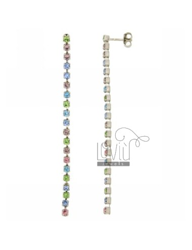 EARRINGS TENNIS CHAIN &8203&8203OF ABOUT 13 DIFFERENT COLORS OF RHINESTONES IN PASTEL MM 3 AG RHODIUM TIT 925 ‰