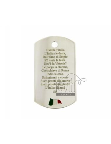 CIONDOLO PIASTRA MILITARE MM 50X28 LASTRA MM 1,0 CON INNO D'ITALIA E BANDIERA SMALTATA SENZA CONTRO MAGLIA IN ARG. TITOLO 925