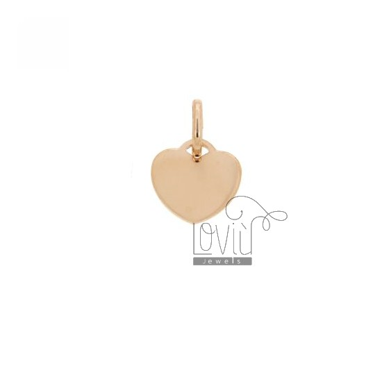 HEART PENDANT 12 MM THICKNESS 0.8 MM SILVER PLATED ROSE GOLD TITLE 925 ‰
