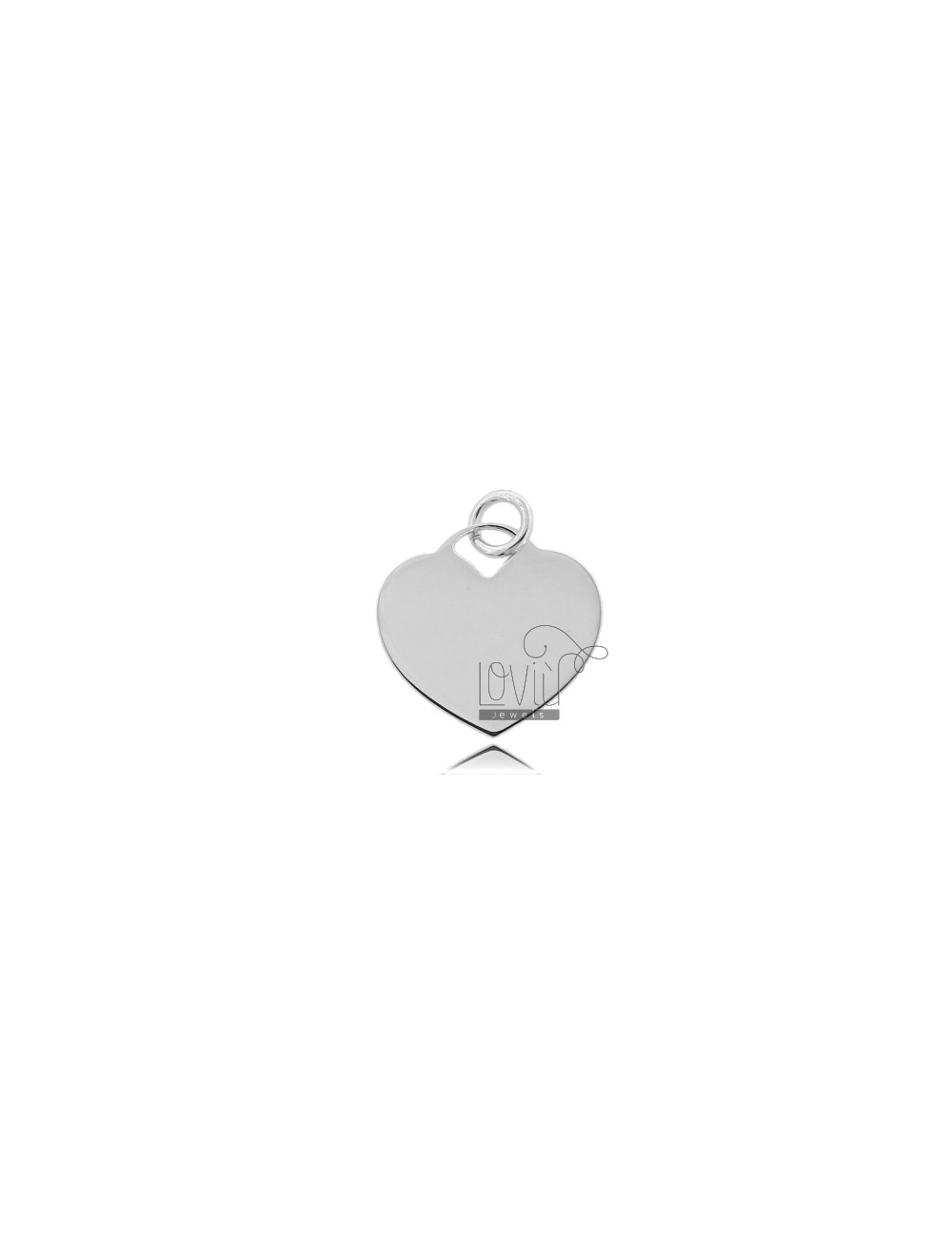 HEART PENDANT 15 MM THICKNESS 0.8 MM IN SILVER 925 RHODIUM TITLE